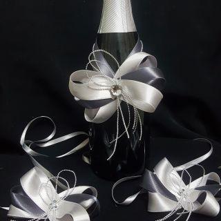 Украса за шампанско и чаши 03